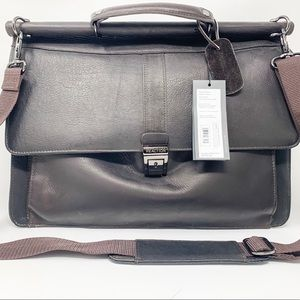NWT Kenneth Cole brown leather briefcase
